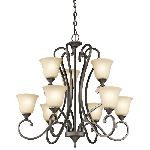 Kichler Lighting 43177OZ Feville 9-Light 2-Tier Chandelier with Light Umber Etched Glass, Olde Bronze Finish