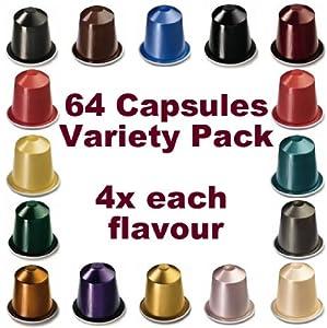 64 NESPRESSO CAPSULES Starter Pack, 4x FULL COFFEE RANGE