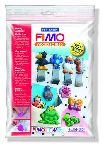 """Staedtler - Fimo Accessoires - Polybag 1 Moule 10 Motifs """"Animaux Rigolos"""" 6 x 4 cm"""