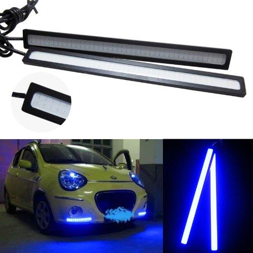 Lemonbest® 2 X General 17Cm 6W Super Bright Cob Bulb Car Led Deep Blue Daytime Running Light Drl Driving Lamp Black Housing