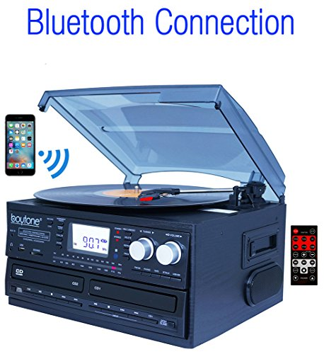 Boytone BT-29B, Bluetooth Dual CD Player and Recorder CD2 to CD1, AM/FM Radio Turntable Record Player 2 Built-in Stereo Speakers, Cassette Player, SD Slot, USB, AUX, Headphone Jack, Limited Edition (Deck Turntable compare prices)