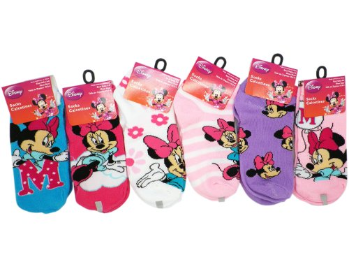 3 Pair Assorted Minnie Mouse Socks (Size 6-8) - Minnie Mouse Ankle Socks