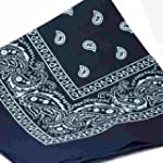 NAVY BLUE Bandana with WHITE square P...