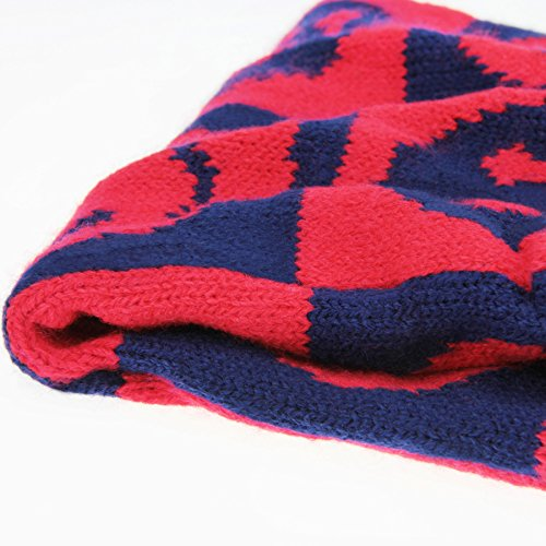 Babies Knitted Scarves Neck Warmer Winter Warm Soft Ski Cycling Hiking Wool Knit Loop Snood Scarf for Girls Boys Smile Face Red