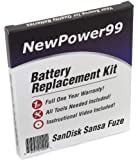 Battery Replacement Kit for SanDisk Sansa Fuze (Sansa Fuze Plus) with Installation Video, Tools, and Extended Life Battery