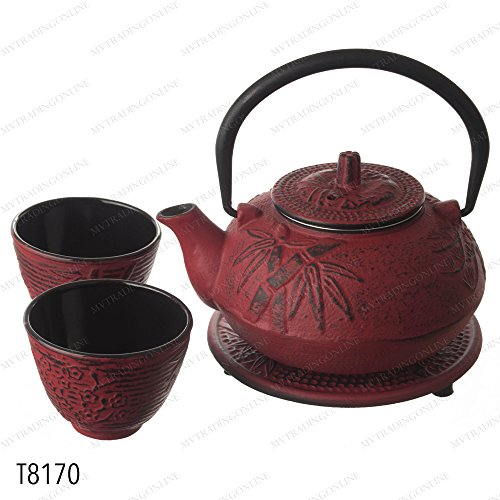 M.V. Trading New Star International T8170 Cast Iron Bamboo Tea Set with Trivet, 21 oz, Red (Bamboo Tea Service compare prices)