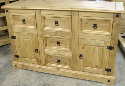 Mexican Corona 2 Door 5 Drawer Pine Sideboard