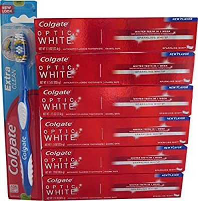 Teeth Whitening Coglate Optic White Toothpaste,Sparkling Mint, 6 Pack, 1.15 oz., Colgate Whitening Toothbrush, Medium, and Red Tote for Travel or Storage