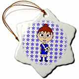 3dRose orn_6318_1 Cute Soccer Girl with Brown Hair Porcelain Snowflake Ornament, 3-Inch