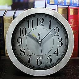 FirstDecor 5 inch white Vintage Wood Pattern Analog Table Clock Arabic numbers Silent Non-ticking Quartz Desk Clock Alarm Clock Round Desk Clocks 3D Clock Christmas gift