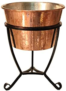 Dago's Copper Designs PB-78-S-2 2-Piece Decorative Tin Lined Planter with Iron Stand, 15-Inch by 15-Inch by 19.50-Inch, Polished Copper