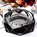 Max&Mix Crystal Ashtray,Cigar Ashtray European Living Room Ash Tray Holder Cigarettes Decor Tray for Home Office Tabletop Decoration,Gift Ashtray,Smoker,Fathers Day Gift,Black