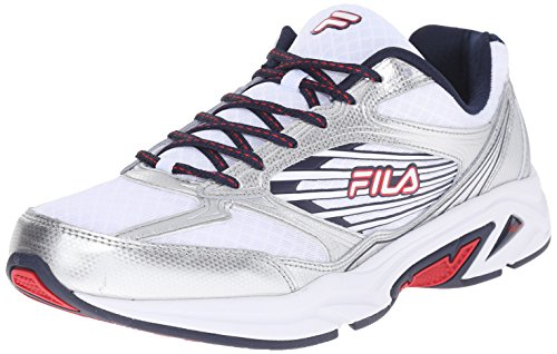 Fila Men's Inspell 3-M Running Shoe, White/Fila Navy/Fila Red, 10.5 M US