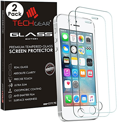[2 Pack of] TECHGEAR® Apple iPhone SE / 5s / 5c / 5 GLASS Edition Genuine Tempered Glass Screen Protector Guard Cover (iPhone SE/5s/5c/5) ...