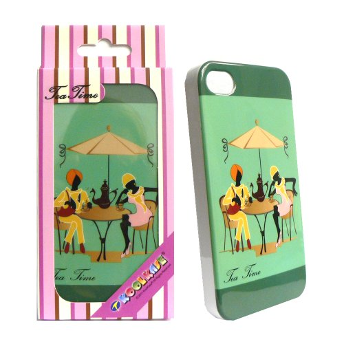 Cell Armor Hybrid Fit-On Case For Iphone 4/4S - Retail Packaging - In-Mold Tea Time Two Ladies On Green