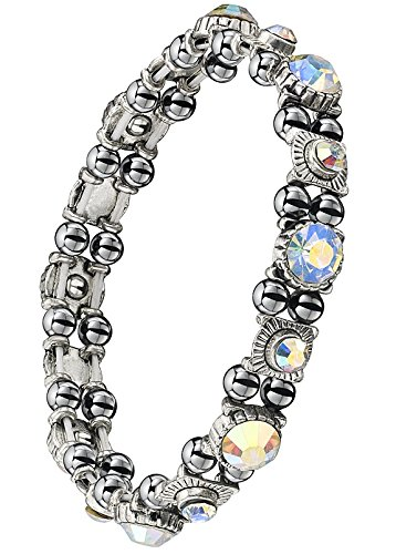 Beautiful Hematite Crystal Magnetic Bracelet For Women. 16 Color Changing Czech Ab Crystals Beads. 32 High Quality Hematite Therapy Magnets. One Year Guarantee. Arthritis Aid, Rsi, Carpal Tunnel. Migraines. **Amazon Special Price** front-1007774