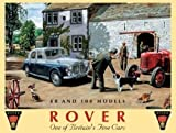 Rover 80 and 100 on farm yard. British motor car and tractor. Rover Badge. For home, house, farm, garage or pub Large Metal/Steel Wall Sign