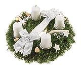 Lawn & Patio - Echter Adventskranz Schneeflöckchen, 30 cm im Durchmesser, mit weißen Kerzen