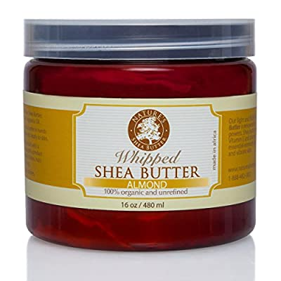 Whipped Almond Organic All Natural Shea Butter - Moisturizer, Anti-Inflammatory and Anti-Aging Properties - 16 oz.