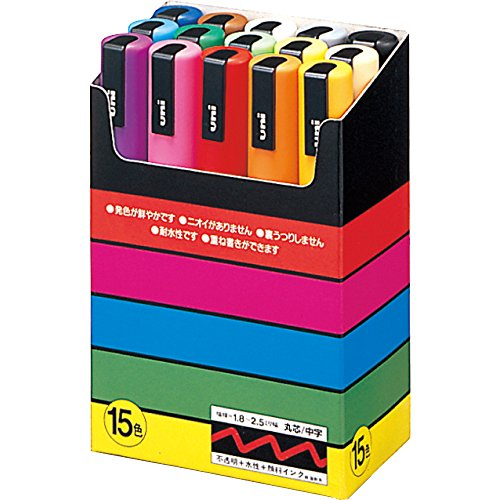 uniball-pc5m15-uni-posca-paint-pen-water-based-medium-round-point-box-of-15-assorted-colours