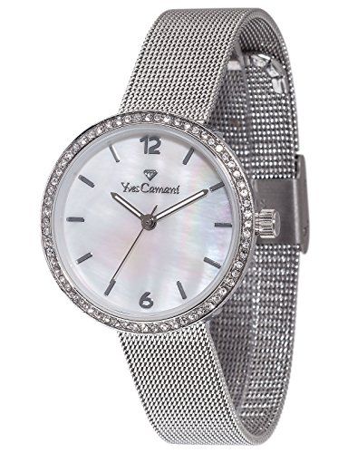 Yves Camani Women's Ophelia Quartz Watch with Mother of Pearl Dial Analogue Display and Silver Stainless Steel Bracelet YC1085-A