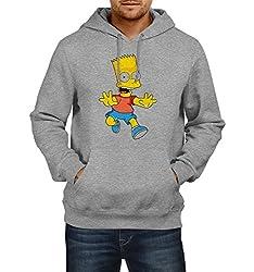 Fanideaz Men's Cotton Running Bart Simpsons Hoodies For Men (Premium Sweatshirt)_Grey Melange_L