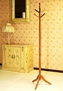 Frenchi Furniture Wood Coat/Hat Rack Stand in Oak Finish