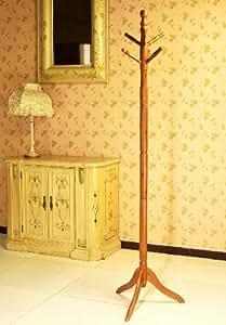 Frenchi Furniture Wood Coat/Hat Rack Stand in Oak Finish