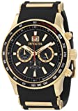 Invicta 1236 Men's Aviator Flight Black Dial Black Rubber Strap Chronograph Watch