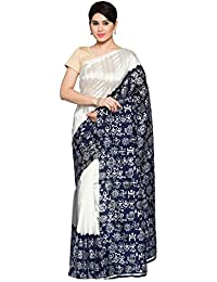 Oomph! Women's Printed Art Silk Sarees - Pearl White & Indigo Blue
