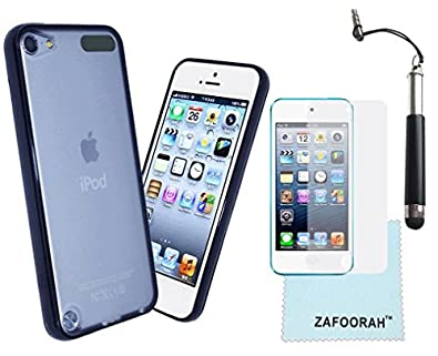 ZAFOORAH® Case Cover for Apple iPod Touch 5 5th Generation (Launched Sep 2012) + Free Stylus+Screen Protector+Microfiber Cloth (Bumper Transparent - BLACK)