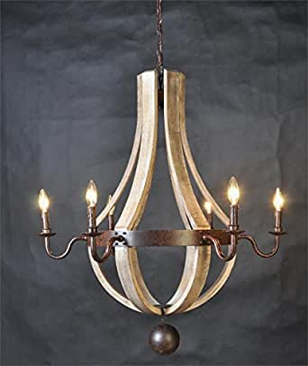 Vintage French Country Wood Metal Wine Barrel Chandelier
