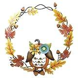 Fall Metal Jewled Owl Sculpture Wreath Decoration, Harvest Autumn Decor, 16-inch