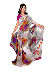 Vardan Prints Women's Faux Georgette Saree (226bj, Multi-Coloured-Coloured, Free Size)