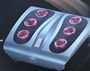 Sharper Image MSI-F140H Deep Kneading Shiatsu Foot Massager with Heat, Silver Body with Black Foot Pads by Sharper Image