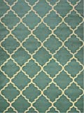 """Conur Collection Trellis Contemporary Modern Design Area Rug Rugs (More Color Options Available) (Teal, 5'3""""x6'11"""")"""