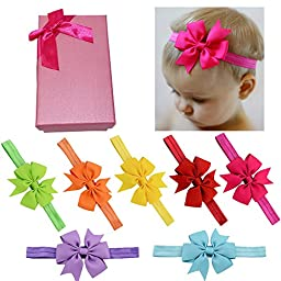 Elesa Miracle Hair Accessories Baby Girl\'s Gift Box with Bow Flower Hair Headband (7pc 3\