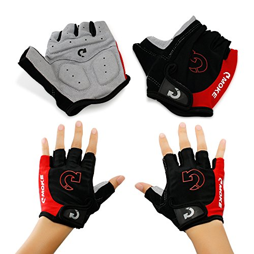 """GEARONIC TM New Fashion Cycling Bike Bicycle Motorcycle Shockproof Outdoor Sports Half Finger Short Gloves - Red """"M"""""""