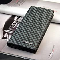 Men Bifold Leather Long Design Billfold Check Card Wallet Purse Black