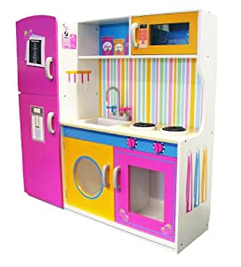 Childrens Wooden LARGE DELUXE WOODEN KITCHEN UNIT/MICRO/FRIDGE