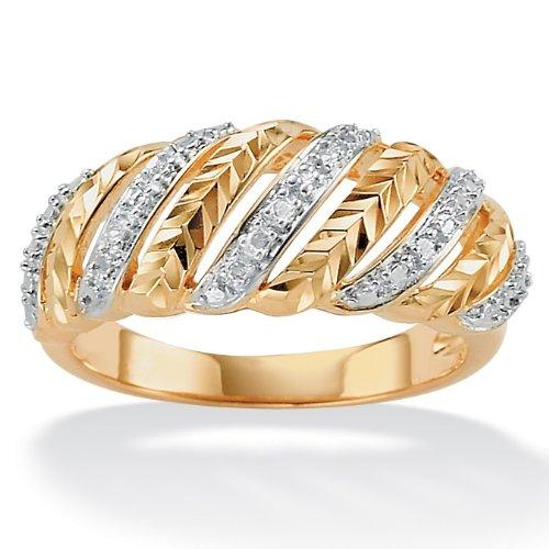 diamond 18k gold over sterling silver multi row ring. Black Bedroom Furniture Sets. Home Design Ideas