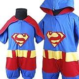 D292 Baby Jungen Superman Strampler Übermensch Phantasie Kostüm (M(Gr.68/74/80) )