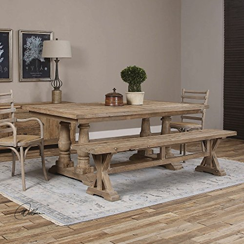 Lime Washed Farmhouse Tables And Benches Bespoke Sizes: Rustic Pine Architectural Baluster Dining Room Table