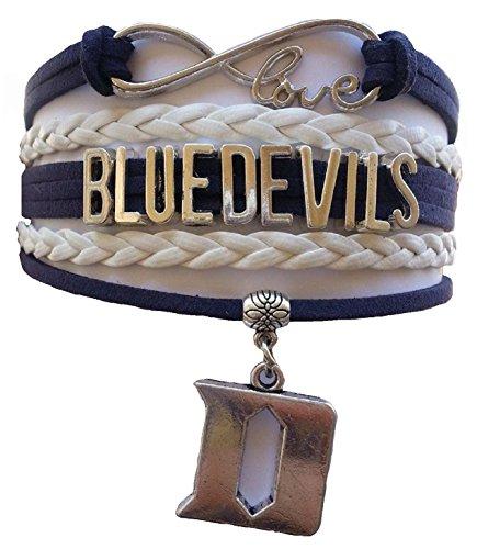 Duke University Blue Devils NCAA Blue & White Infinity Braided Leather Bracelet with Silver