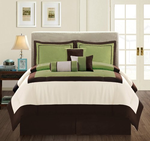 Modern Micro Suede 7-Piece Comforter Set, Full (Double) Size, Sage Green/Brown/Beige front-216898