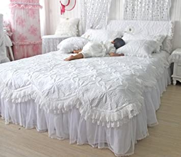 FADFAY,Custom Made Beautiful Comforters Sets,White Lace Ruffled Bedding Set,Luxury Summer Quilt Set,Patchwork Quilt,Quilted Set,Quilting,Twin Queen King Bed Set,4Pcs (4 feet bed)