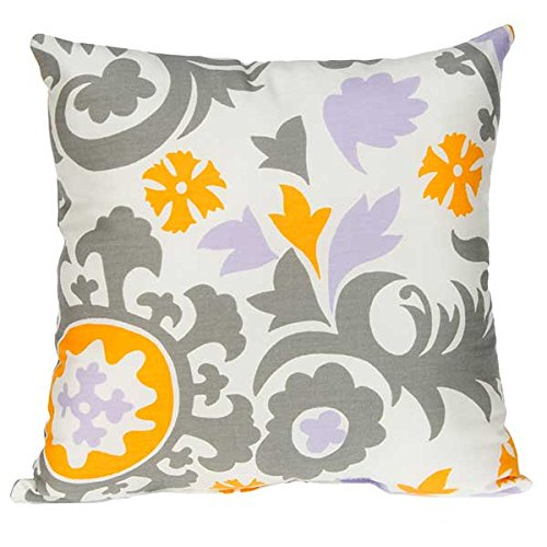 Sweet Potato Fiona Pillow Suzani, Purple/White/Grey/Yellow