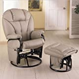 Coaster Knitted Pillow Style Bone Leatherette Swivel Glider Rocking Chair w/Ottoman