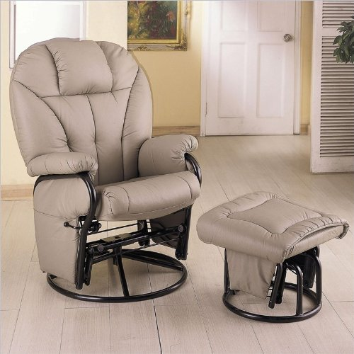 Coaster Knitted Pillow Style Bone Leatherette Swivel Glider Rocking Chair W/Ottoman front-790714