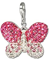 SilberDream scintillement bijoux - Charm Papillon - Femme - Argent 925/1000 - Cristaux Swarovski rose ICE - scintillement Charms - GSC003